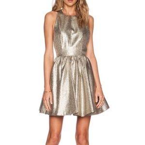 Alice + Olivia Tevin Gold Mini Party Dress